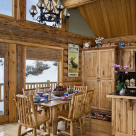 Dining room in handcrafted log home