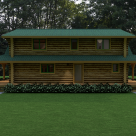 Exterior rear view of custom log home