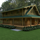 Exterior quarter view of log home
