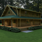 Exterior quarter view of custom log home