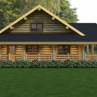 Exterior of log cabin with wrap around porch