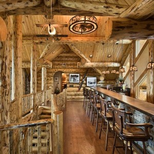 Bar in loft of custom log home