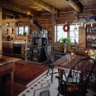 Interior of rustic log cabin with western art and antique wood cook stove