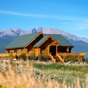 Exterior of log home with green roof with mountains in background