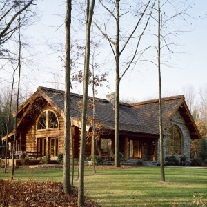 Exterior of custom log home