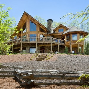 Exterior of handcrafted log home