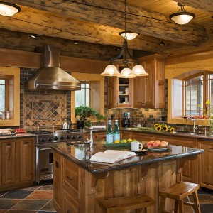 Beautiful kitchen in log home