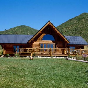 Exterior of ranch style log home