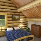 Interior rendering of log home loft bedroom with exposed log beam ceiling and pine trim on windows.