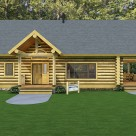 Rendering of Montana Log cabin with log post and beam entry and porch.
