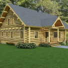 Rendering of handcrafted log cabin with steep roof and log gable end with small covered entry.