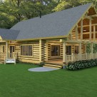 Rendering of log cabin in the woods with log post and beams creating covered porch.