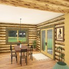 Rendering of log home dining room with view through large window and french doors to forest beyond.