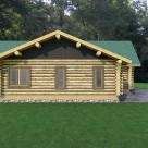 Rendering of handcrafted log home, end view with low profile roof lines.