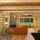 Log home living room rendering with wood floors, dark pine ceiling with exposed log beams.