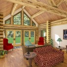 Interior rendering of log home great room with red chairs and french doors leading to patio with forest backdrop.