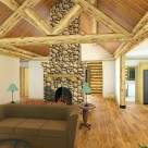 Interior rendering of log home great room with river rock fireplace, hardwood floors and diamond log truss supporting expose log beams.