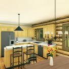 Rendering of log home kitchen with pine cabinets and small breakfast bar.