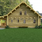 End view of custom log home with steep roof to create loft space.