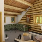 Interior rendering of log home loft area with exercise equipment in shed dormer.