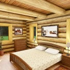 Rendering of log home bedroom with exposed log beam ceiling, king size bed with white comforter and views through windows to forest.