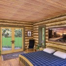 Rendering of handcrafted log home bedroom with wood floors, pine ceiling and french door to patio outside.