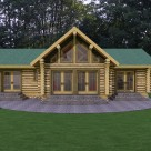 Front view rendering of ranch style handcrafted log home with french doors to patio and trapezoid windows in gable.