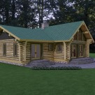 Rendering of low profile custom log home with green roof and french doors leading to large patio in forest setting.