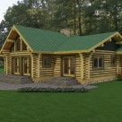 Rendering of ranch style log home with covered entryway and large patio.