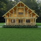 Rendering of handcrafted log cabin with steep roof and log post and purlins creating covered outdoor porch.