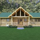 Rendering of ranch style log home with log post and beam covered entry