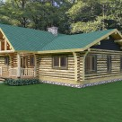 Rendering of ranch style log cabin with green lawn and forest background.