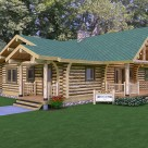 Rendering of custom log home with log post and beam covered entryways.
