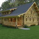 Quartering view of handcrafted log home in forest with full log gable, covered porch and shed dormer.