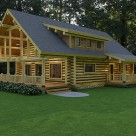 Rendering of custom log home with large covered deck and shed dormer breaking up long steep roof line.