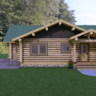 Rendering of handcrafted, ranch style log home with log post and beam covered entry.
