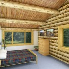 Interior rendering of log home bedroom with exposed ceiling logs and pine boards above.