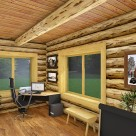 Rendering of log home office with large windows to view the forest beyond.