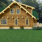 Exterior rendering of log home with full log gable end and dormers.
