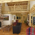 Interior rendering of handcrafted log home great room with massive stone chimney and catwalk with log rails.