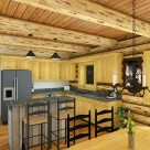 Rendering of log home kitchen with exposed ceiling logs with pine boards above.