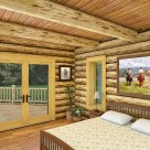Handcrafted log home bedroom rendering with western art on the wall and french doors to patio.