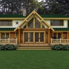 Rendering of handcrafted log home with covered porches and large stucco dormers.