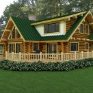 Exterior rendering of handcrafted log home with large dormer, covered entry and patio.