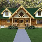 Rendering of handcrafted log home with diamond truss at center and stucco dormers on each side.