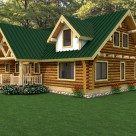 Rendering of custom log home with covered entry.