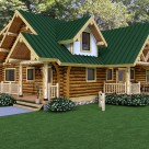 Rendering of handcrafted log home with stucco dormer and formal entry.