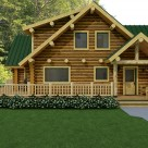 Rendering of log home with dormers on second level to expand living space.