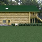 Handcrafted log garage with log home above and green roof.