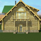 Rendering of handcrafted log home with balcony, dormers and green roof.
